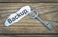Key with message Backup Stock Photos