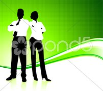 Business team on green environment background Stock Illustration