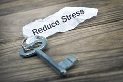 Key with message Reduce Stress Stock Photos