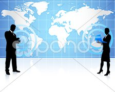businessman and businesswoman on global communication - stock photo