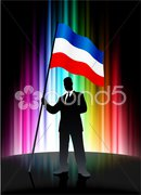 Business silhouettes with waving flag of serbia and montenegro Stock Illustration