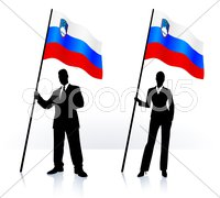 Business silhouettes with waving flag of Slovenia Stock Illustration