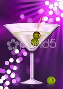 Martini glass with olives Stock Illustration