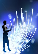 Businesswoman holding computer laptop with fiber optic internet Stock Illustration
