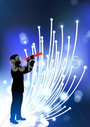 Young clarinet player on fiber optic background Stock Illustration