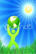 Man with Green Globe on summer background - stock photo