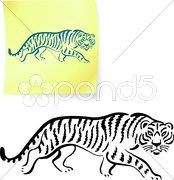Tiger on sunset internet background Piirros