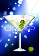 Martini glass with olives abstract internet background Stock Illustration