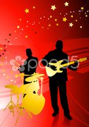 Music Band on Abstract Red Background Stock Illustration