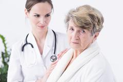 Afraid of her medical condition Stock Photos