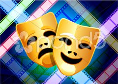 Comedy and tragedy masks on multi color film reel background Stock Illustration