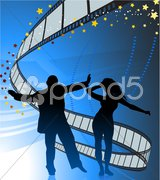 Sexy young couple dancing on film strip background Stock Illustration