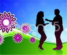 Couple dancing on fun background Stock Illustration