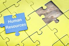 Puzzle with word Human Resources Stock Photos