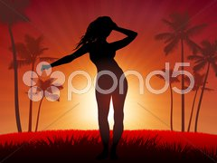 Young Sexy woman dancing on sunset background - stock illustration