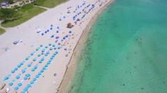 Tourists love Miami Beach aerial video Stock Footage