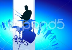 Drums Player with Musical Band Background Stock Illustration