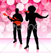 Musical Band on Lens Flare Background - stock illustration
