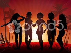 Young Women party on sunset background Stock Illustration