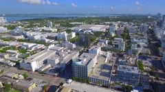 Aerial video of the Miami Beach clock tower Lincoln Road Stock Footage