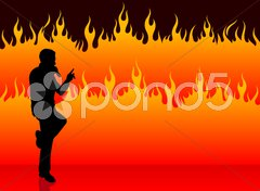Singer performing on fire background Stock Illustration