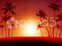 Live saxophone performer on tropical red background Stock Illustration