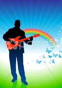 Guitar player on nature background Stock Illustration