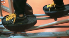 Woman Foot Training On Steps In Gym Stock Footage