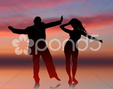 Man and woman dancing on summer sunset background Stock Illustration