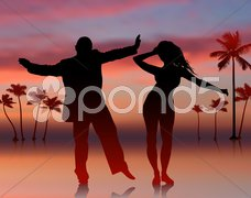 Sexy Young Couple on Sky Background Stock Illustration