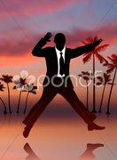 Excited Businessman on Sky Background Stock Illustration