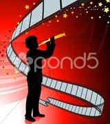 Clarinet player on film reel background - stock illustration