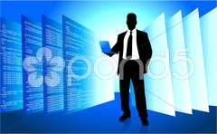 IT programmer accessing internet on laptop Stock Illustration