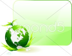 Globe on Green Environmental Conservation Background - stock illustration