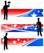 Chefs with patriotic banners Stock Illustration
