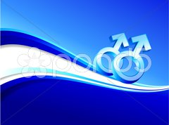 Gay gender symbols on abstract blue background Stock Illustration
