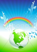 Globe on Rainbow Environmental Conservation Background Stock Illustration