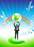 Business man on Rainbow Environmental Conservation Background Stock Illustration