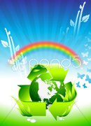Globe on Rainbow Environmental Conservation Background - stock illustration