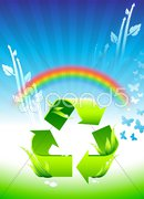 Recycling sign on Rainbow Environmental Conservation Background Stock Illustration