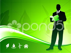 Business man on green environment background - stock photo