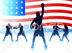 American patriotic boxing background Stock Illustration