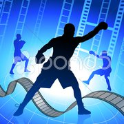 Boxing on film strip/reel background Stock Illustration
