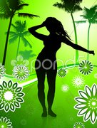 Sexy young couple dancing on palm trees summer background Stock Illustration