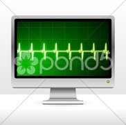 Pulse on computer screen monitor Stock Illustration