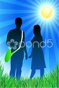 Traveling couple on sunny summer background Stock Illustration