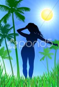 Sexy woman on nature background Stock Illustration