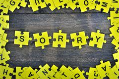 Puzzle with word Sorry Stock Photos