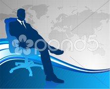 Business executive on global communication background - stock photo