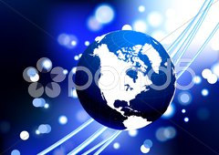 Globe with fiber optic cable internet background Stock Illustration